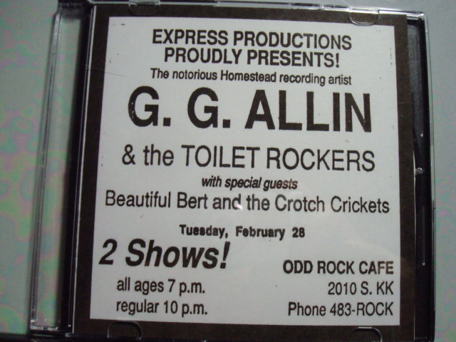 GG ALLIN & THE TOILET ROCKERS at ODD ROCK CAFE, MILWAUKEE, WI on FEBRUARY 28, 1989 CD