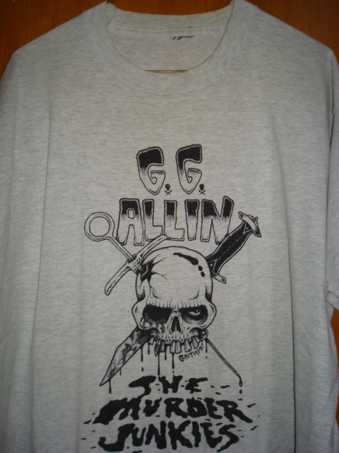 ORIGINAL GG Allin & Murder Junkies Grey TOUR SHIRT