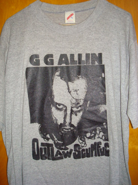 ORIGINAL GG Allin Outlaw Scumfuc Grey SHIRT - AUTOGRAPHED
