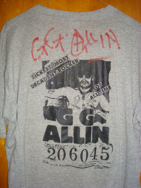 ORIGINAL GG Allin Outlaw Scumfuc Grey SHIRT - AUTOGRAPHED!